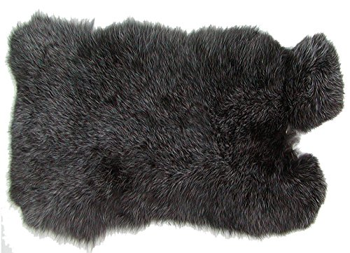 Ensuite Kaninchenfelle schwarzsilber naturfarben, ca. 30x30 cm, Felle vom Kaninchen mit seidigem Haar