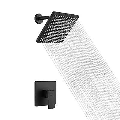Aihom Shower Faucet Matte Black Shower Head Set, Shower System with Single Handle Brass Rough-in Valve, 8-Inch Touch-Clean Shower-head & Shower Arm Shower Trim Kit