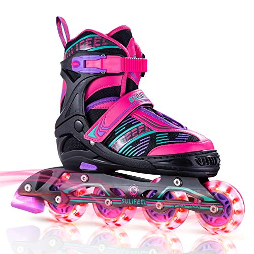 Sulifeel Arigena 4 Size Adjustable Light up Inline Roller Skates for Girls and Boys, Roller Blades for Kids and Women Adults Red Purple Green - Medium(1Y-4Y US)