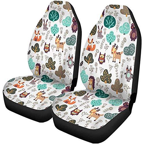 Funny Animal, set van 2 autostoelhoezen, bloemenmotief, van wilde in Forest Bear, universele autostoelbeschermer, geschikt voor auto's, SUV, limousine, vrachtwagens