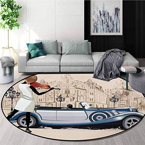 Amazing Deal RUGSMAT Urban Modern Machine Washable Round Bath Mat,Hand Drawn Illustration of Street ...