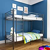 mecor Metal Bunk Bed Twin Over Twin - Sturdy Frame with Safety Guard Rail & Removable Ladder - for Kids/Teens/Adults (Black)