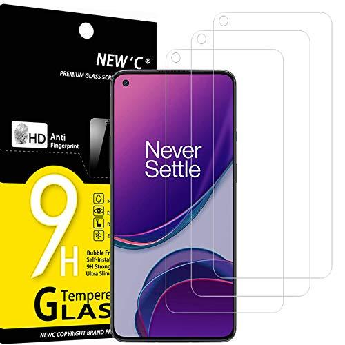 NEW'C 3 Stück, Schutzfolie Panzerglas für OnePlus 8T, Frei von Kratzern, 9H Festigkeit, HD Bildschirmschutzfolie, 0.33mm Ultra-klar, Ultrawiderstandsfähig