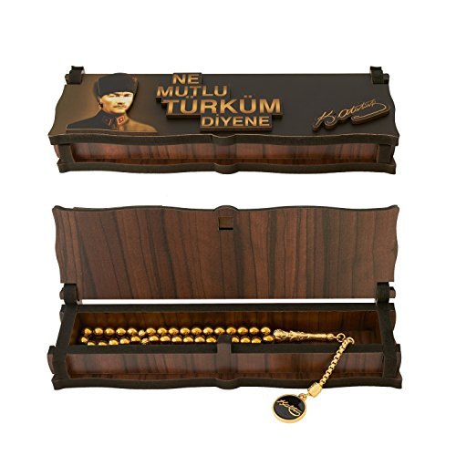 Gök-Türk Box Schatulle aus Holz Handgemacht & Tesbih Gebetskette 'Mustafa Kemal Atatürk' 33 Perlen, ColorName:ohne Gravur