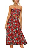 Angashion Women's Floral Crop Top Maxi Skirt Set 2 Piece Outfit Dress 2134 Red L
