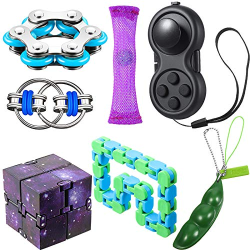 7-Pieces-Fidget-Toy-Set-Include-Six-Roller-Chain-Fidget-Key-Flippy-Chain-Infinity-Cube-Wacky-Track-Fidget-Pad-Fidget-Bean-and-Marble-Fidget-with-Storage-Bag-for-Autism-Stress-Anxiety-Relief