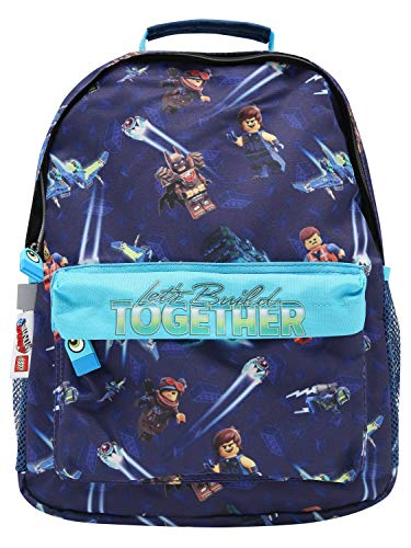 Lego 2 Movie Blue Character Print Lets Build Together Slogan Zip Fastening School Backpack Blue One Size