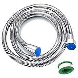 Funxim Manguera de ducha 2 m, acero inoxidable, protección contra explosiones flexible para todos los cabezales de ducha G1 / 2, doble cierre con banda impermeable
