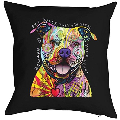 Kussen met vulling, decoratief kussen, sofakussen met kleurrijke hondenmotief - Beware Of Pit Bulls