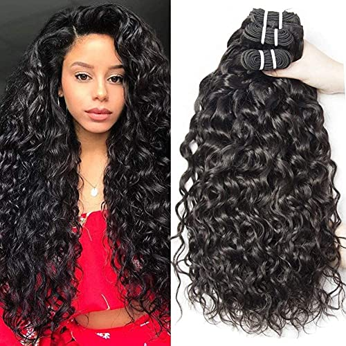 Yavida Water Wave Bundles Hair Brazilian Remy Hair Bundles Wet and Wavy Bundles Cheap Curly Weave Human Hair Bundles 12 14 16 Inch 1B Color