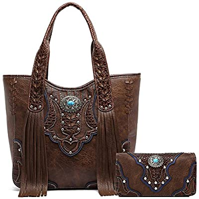Western Style Cowgirl Fringe Concealed Purse Conchos Totes Country Women Handbag Shoulder Bags Wallet Set (1 Brown Set)