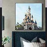 jijimidianzi Pintura de Lienzo Decorativa Cuadro en Lienzo Castillo Disneyland Paris Mural decoración de la Sala de Estar Parque de Atracciones Cartel de la habitación de los niños-50x70cm