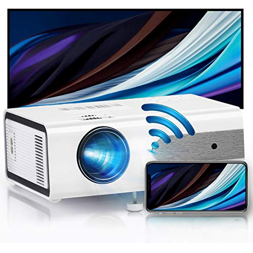 HOLLYWTOP Home Theater Proiettori, Mini Proiettore Portatile, Video proiettore da 4200 Lumens con Max 180'' Display, durata della lampada 60000 ore, Compatibile con 1080P USB/ HDMI/ SD/ AV/ VGA - EU