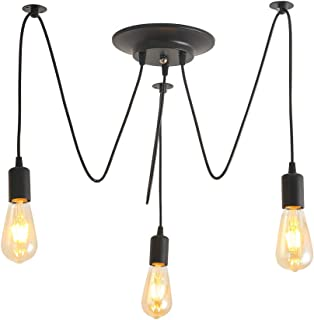 Retro Lámpara de Techo Iluminación colgante 3 Brazos E27 Tipo de base Cada Uno con Cable 1.8m Antiguo Clásico Ajustable DIY Lámpara Pendiente
