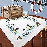 Kamaca Stickpackung Tischdecke SEGELBOOT und Leuchtturm Kreuzstich vorgezeichnet aus Baumwolle zum...