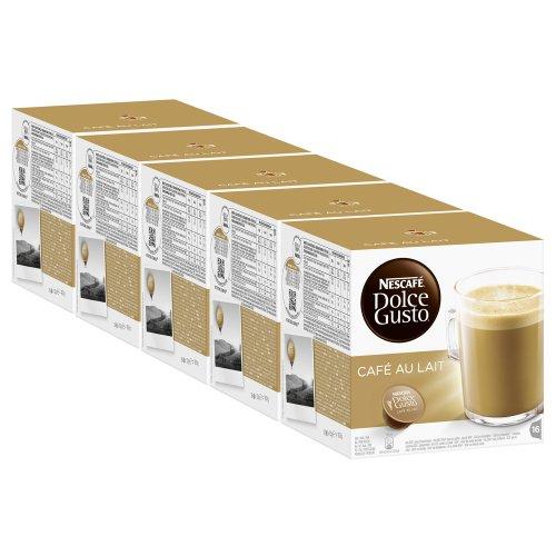 Nescafé Dolce Gusto Café con Leche, Paquete de 5, 5 x 16 Cápsulas
