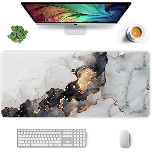 Auhoahsil Extended Mouse Pad, XXL Gaming Mouse Pads, Large Big Mousepad Laptop Computer Keyboard Mat Desk Pad with Non-Slip Base Stitched Edge for Gaming Office, 35.5 x 15.7 inch, White Black Marble