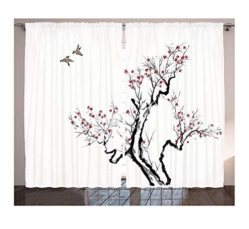 SHANGZHIQIN Cortinas de Ventana japonesas Estilo de Pintura asiática clásica Arte de Ramas de Flores Flor Patrón de pájaros voladores