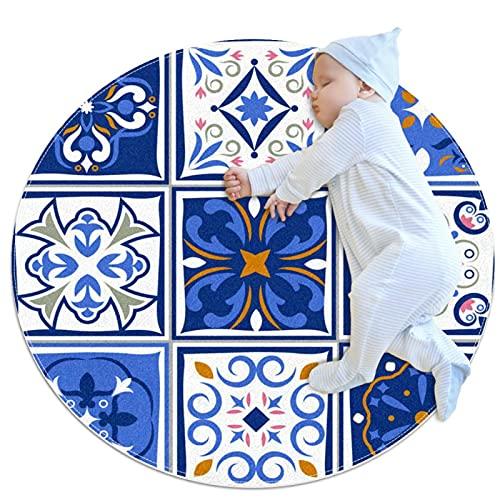 Alfombra de área redonda lavable a máquina para interiores, sofá de piso de dormitorio ultra suave, sala de estar, dormitorio, alfombra circular pequeña de 2.6 pies, imagen de cerámica fina azul vintage