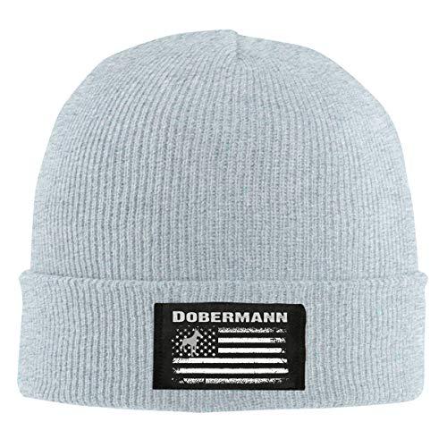 IHJK Jkkk Unisex Dobermann America Flag Skull Hats Knit Cap Winter Warm Cap Beanie Hats Gray