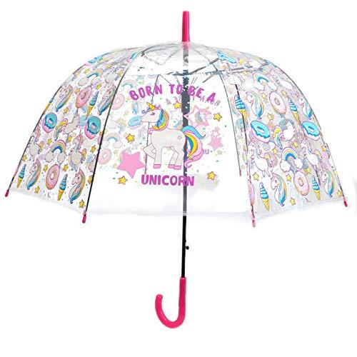 Paraguas Transparente, Paraguas de Unicornios, Color Rosa Fucsia, Paraguas para niños, niñas...
