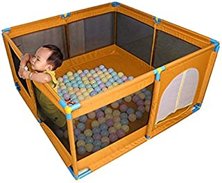 Children s Fence Large Portable Children s Play Box  Play Yard Foldable Room for Oxford Cloth Side Panel Yellow