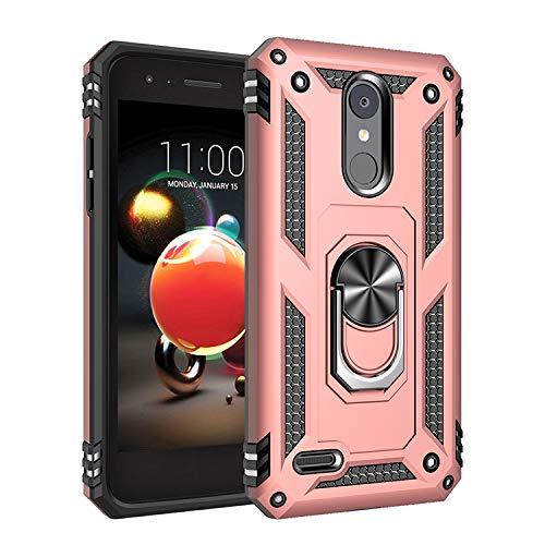 for LG K9 Case,360 Degree Rotating Ring Holder Kickstand Case for LG LMX210EM K Series K9 2018 / LMX210EMW LMX210NMW LMX210YMW LMX210HM LMX210BMW LMX210FM LMX210JM LMX210ZM LMX212TAL Case Cover Pink