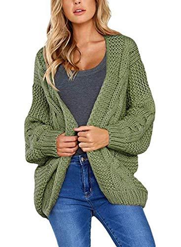 YUQIBXC - Chaqueta Larga de Punto para Mujer Brazalete Verde. S