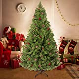 Herphia 6FT Artificial Christmas Tree,800 Branch Tips and Sturdy Metal Stand Xmas Pine Tree with pinecones and...