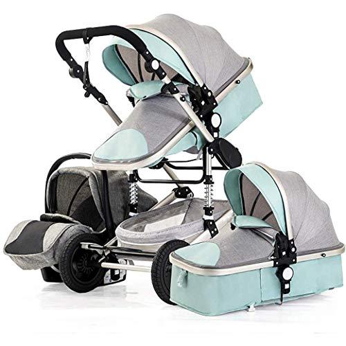 QJY Baby kinderwagen voor pasgeboren en - Luxe kinderwagen opvouwbare Luxe Baby High View kinderwagen Baby 3 in 1 met babymand Blauw