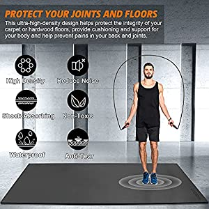Large Exercise Mat 6'x4'x7mm Workout Mat for Home Gym Mats Exercise Equipment Gym Flooring Rubber Fitness Mat Thick Yoga Mat for Weightlifting, Cardio, Jump Rope, Plyo, MMA, Treadmill, Stretch, Dance, Pilates, Non-Slip, Shock-Absorption, Durable, Shoe-Friendly