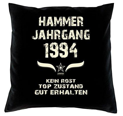 Sofakissen Dekokissen inkl. Füllung & Urkunde Geschenkidee zum 26ten Geburtstag Hammer Jahrgang 1994 Kissenbezug 100% Baumwolle Farbe: schwarz