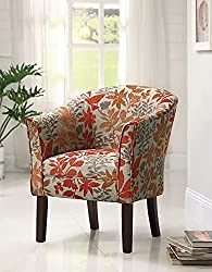 Amazon Upholstered Leaves Pattern Orange Saffron Rust Green Transitional Modern Chair