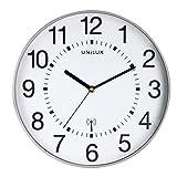 Unilux Gran Reloj de Pared con Radio Maxi Wave de 37,5 cm, en Gris Plateado, radiocontrolado por Radio, Cambio automático de Hora de Verano e Invierno