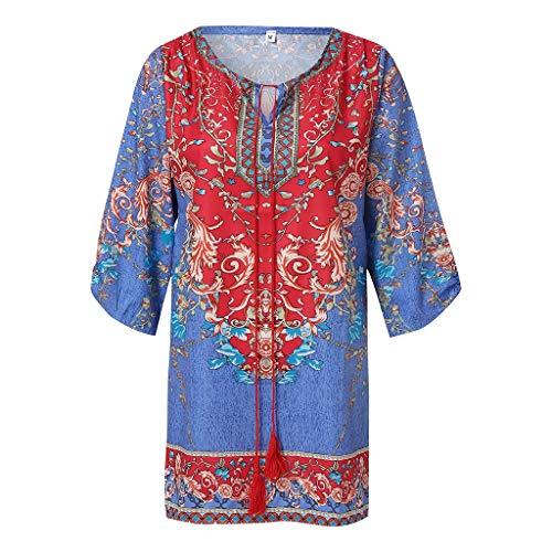 COZOCO Vestido de Verano para Mujer con Estampado Retro Boho Cuello Redondo sin Mangas Camisa de Verano Camiseta para Mujer Ropa de Mujer(Azul,XXL)