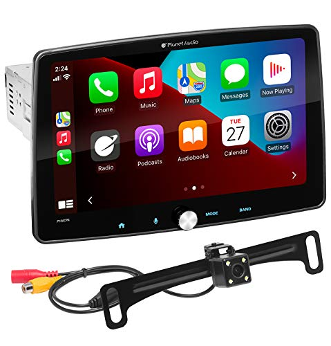 Planet Audio P100CPAC Apple CarPlay Android Auto Car Receiver - Single Din Chassis with 10.1 Inch Capacitive Touchscreen, Backup Camera Included, Bluetooth, USB, No CD DVD, Multi-Color Illumination