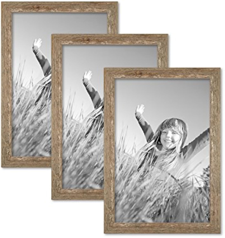 PHOTOLINI 3er Bilderrahmen-Set 30x45 cm Strandhaus Rustikal Eiche-Optik Natur Massivholz mit Glasscheibe inkl. Zubehr Fotorahmen