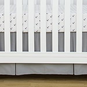 crib bedding and baby bedding tillyou gray pleated crib skirt, 100% natural cotton, nursery crib bedding skirt for baby boys and girls, 14'' drop charcoal gray