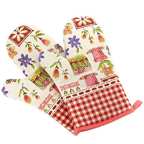 Panegy Küchenhandschuhe Kochhandschuhe Hitzebeständig Topfhandschuhe Verdickte Baumwolle Ofenhandschuhe Backhandschuhe Isolierte Grillhandschuhe aus Baumwoll