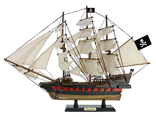 Handcrafted Nautical Decor Wooden Black Pearl White Sails Limited Model Pirate Ship 26' - Decorative Ship