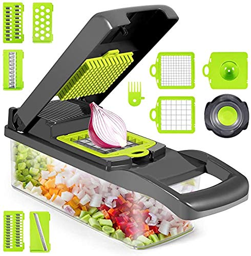Vegetable Chopper - Onion Chopper with Container - Egg Separator - Food Chopper Dicer with 7 Blades - Mandoline Slicer Vegetable Cutter for Tomato Cheese Potato Fruit Salad