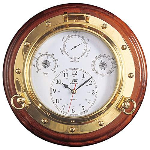 プラスチモ (PLASTIMO) フォー・イン・ワン 215CHTB 掛け時計&気圧計&温度計&湿度計 ブラス製 (真鍮) φ347×77mm 230215A