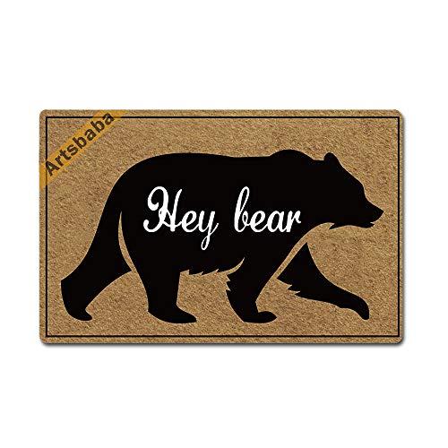 """Artsbaba Welcome Mat Hey Bear Doormat Rubber Non-Slip Entrance Rug Home Decor Indoor Door Mat 23.6 x 15.7 Inches, 3/16"""" Thickness"""