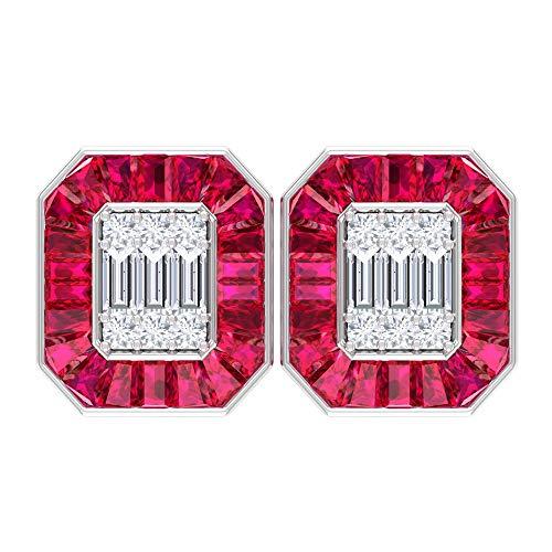 Pendientes de boda, pendientes en forma de octágono, pendientes HI-SI 0,54 quilates, pendientes de rubí de 7,5 quilates con halo de rubí, 10K Oro blanco, Par