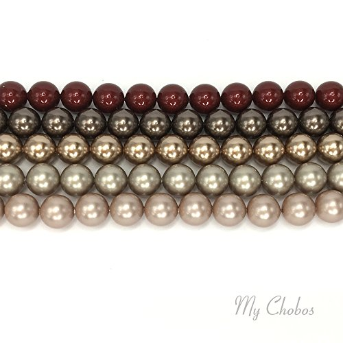 BRONZE & BROWN COLORS MIX Swarovski 5810 Crystal Round 6mm Pearls Beads 50 pcs *FREE Shipping from Mychobos (Crystal-Wholesale)*