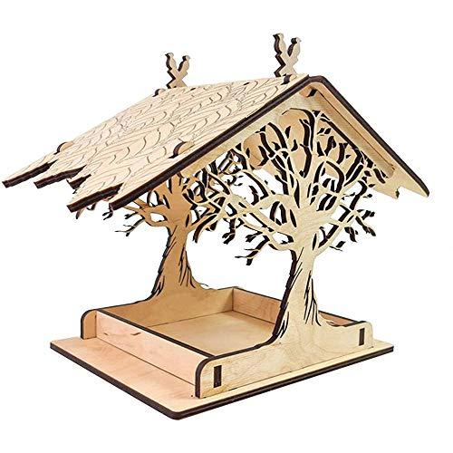 Comedero para pájaros de madera, para colgar en el exterior, resistente a la intemperie, comedero de colibrí, para mascotas, hogar, jardín, patio, villa, balcón, comedero, color blanco