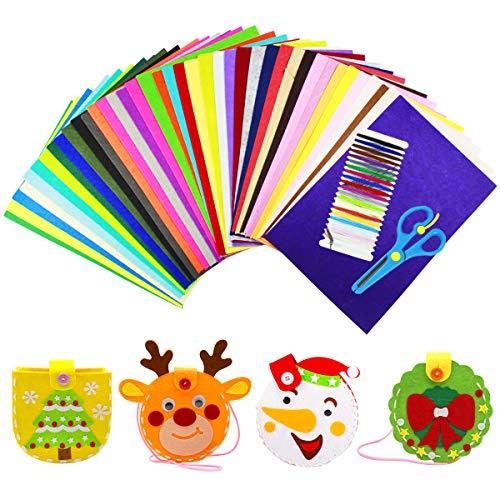 WEONE 40 Colores Hoja de Fieltro, 20 * 30 cm Fieltro Manualidades No Tejido Tela de Fieltro, Suave Felt Fabric Sheets para Manualidades Patchwork Costura DIY Artesanías de Bricolaje
