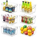 YIHONG Clear Pantry Storage Organizer Bins, 6 Pack Plastic Food Storage Bins with Handle for Kitchen,Refrigerator, Freezer,Cabinet Organization and Storage
