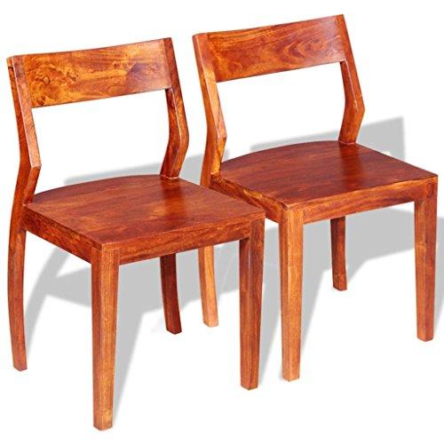 vidaXL 2X Chaise de Salle à Manger Bois d'Acacia Massif et Sheesham Cuisine