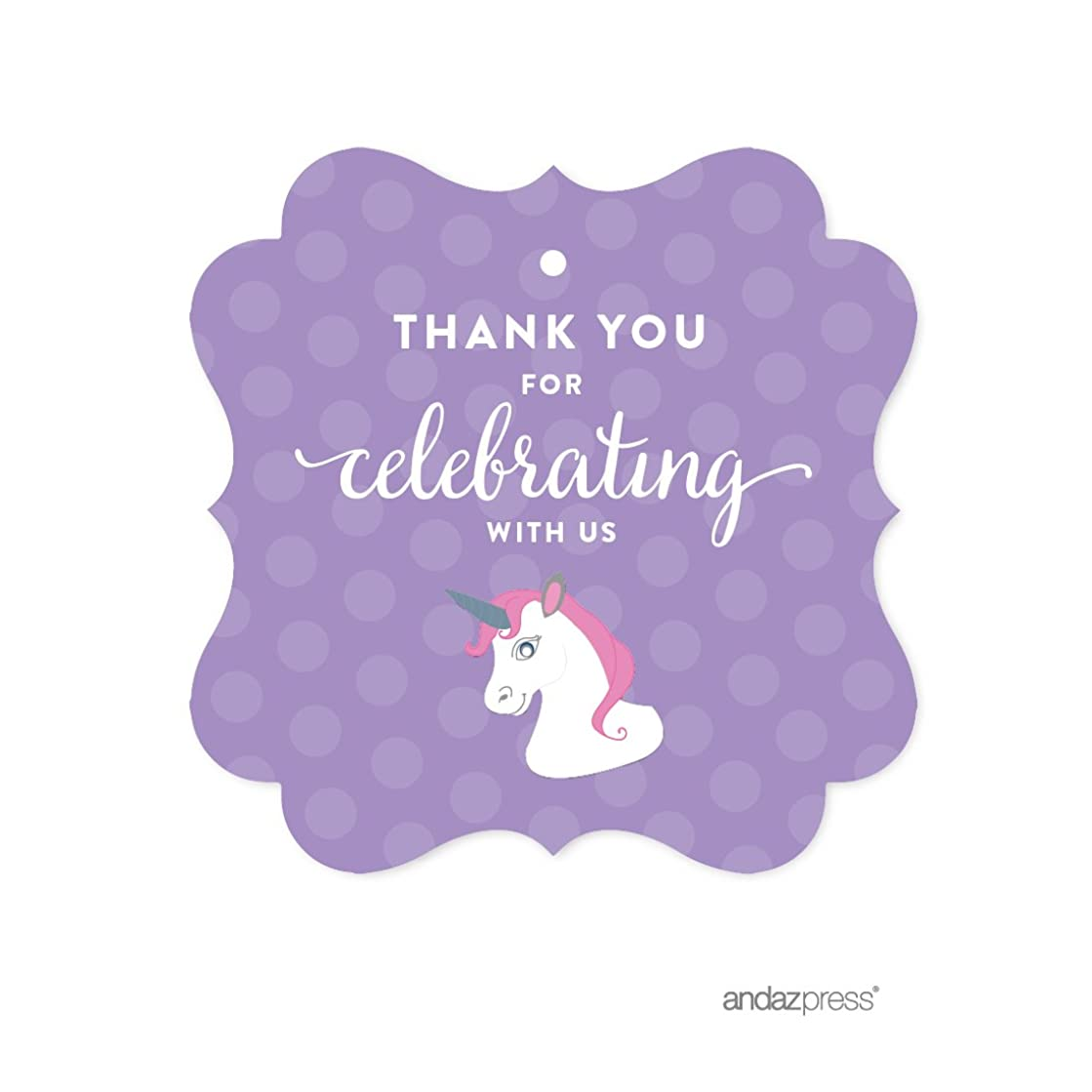 Andaz Press Birthday Fancy Frame Gift Tags, Thank You for Celebrating with Us, Unicorn, 24-Pack, for Gifts and Party Favors